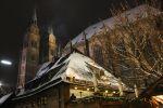 Thumbnail Bratwursthaeusle restaurant in the evening light, Advent season, St. Sebaldus Church at the back / Rathausplatz, Innenstadt, Nürnberg, Middle Franconia, Bavaria, Germany, Europe