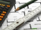Thumbnail Pocket calculator, pencil and folding rule lying on a plan, construction of a house, planning /