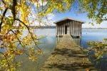 Thumbnail Fisherman's hut in autumn at Kochelsee Lake, Bavaria, Germany, Europe, PublicGround /