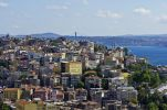 Thumbnail View over the rooftops of Besiktas and Beyoglu towards the Bosphorus, as seen from the Galata Tower, Kuelesi, Istanbul, Turkey