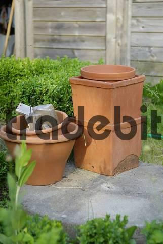 flowerpots in the garden