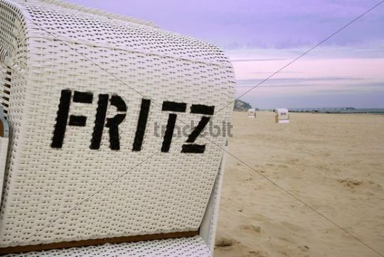 quotFritzquot written on a beach chair on a beach on the Baltic Sea, Usedom Island, Mecklenburg Western-Pomerania, Germany, Europe