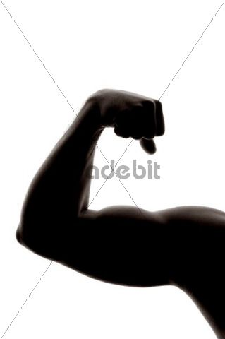 Man, arm, muscular, backlight, clenched fist