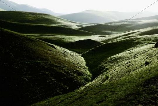 High valley in the early morning in Abruzzo, Italy, Europe