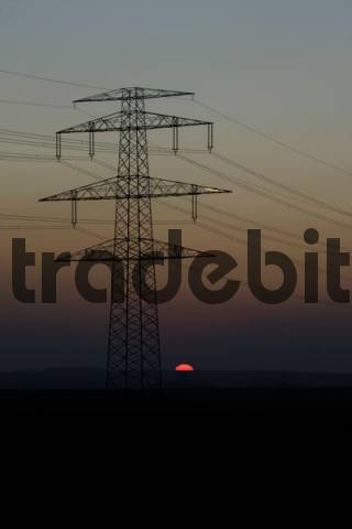 electric utility by sunset