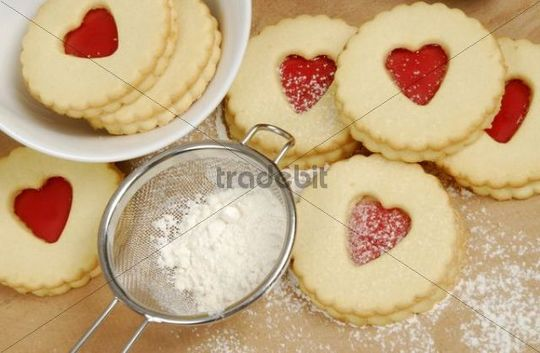 Jam heart pastries, christmas biscuits