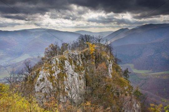 Autumn on Ciganka Rock, view from the ruins of Muran Castle, Muranska Planina National Park, Slovakia, Europe