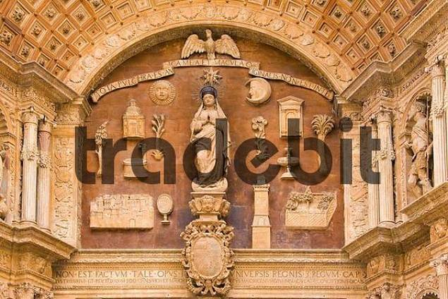 Majorca, cathedral of Palma, works of art above the entrance