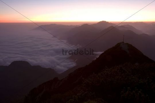 Sunrise above clouds, Lake Walchen, Bavaria, Germany, Europe