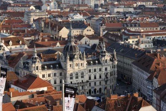 City hall on Hauptplatz Square, view from the Schlossberg, Graz, Styria, Austria, Europe