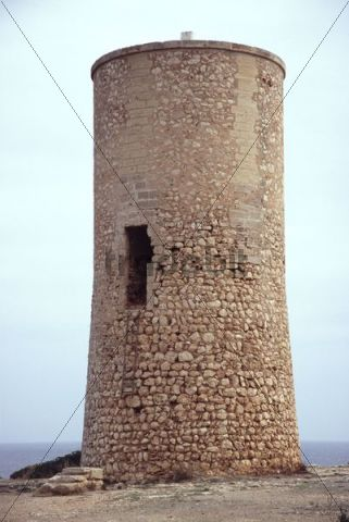 Antiquated watchtower at the coast of Porto Christo, Majorca, Balearic Islands, Spain, Europe