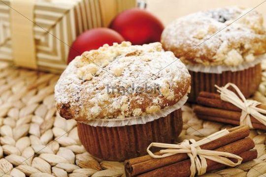 Christmas muffins and cinnamon sticks