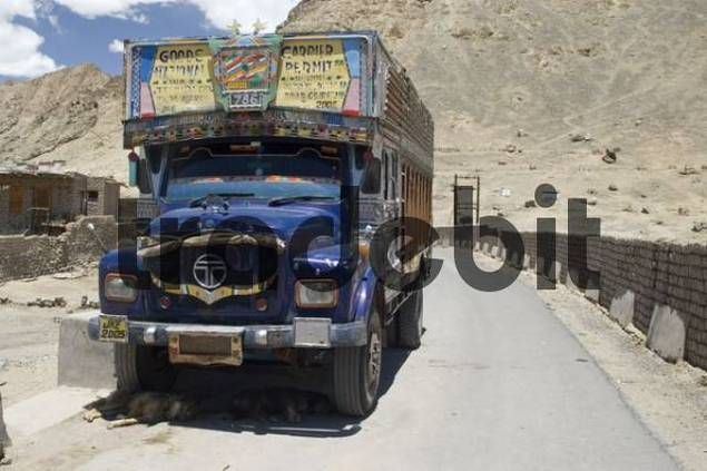 typical indian truck in Leh, Ladakh, India