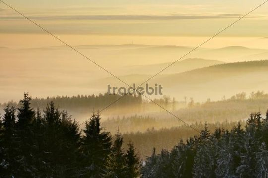 Southern view from Holy Vrch, Bile Karpaty, White Carpathian Mountains, protected landscape area, Moravia, Czech Republic, Europe
