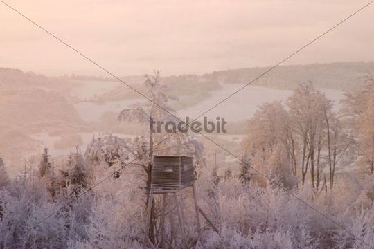 Raised hide on Javorina hill, White Carpathian Mountains, protected landscape area, Bile Karpaty, Slovakia, Europe