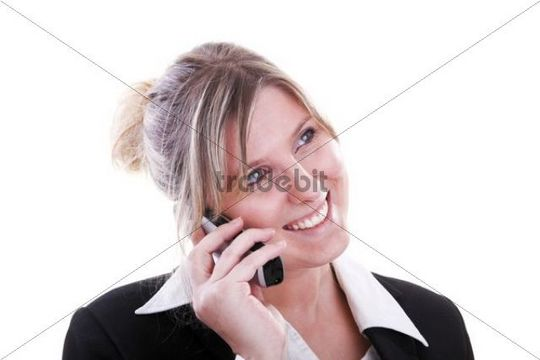 Smiling woman wearing a costume, phoning