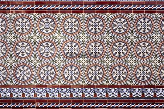 Tile ornaments, detail, Andalusia, Spain, Europe