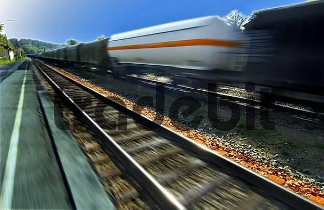 train station, tracks and train of Assling Upper Bavaria Germany