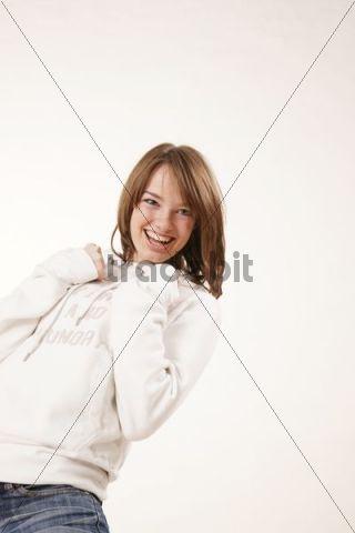 Girl in cheerful mood