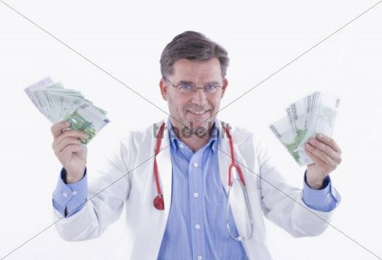Doctor with fans of banknotes, symbolic of doctors remuneration