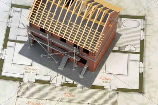 Shell construction, model and blue print, symbolic picture for building a house