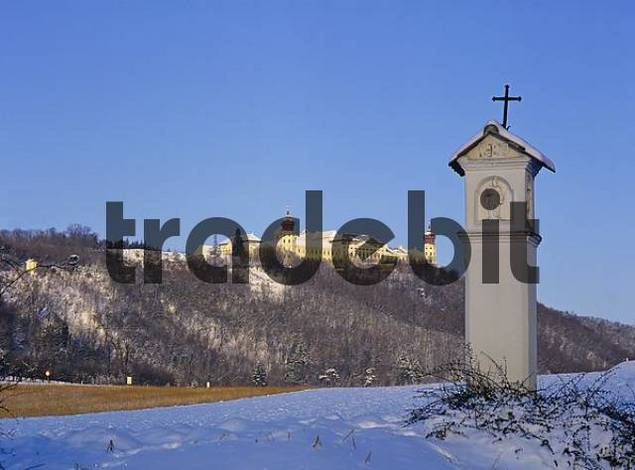 view of the monastery of Göttweig in winter. Wachau, Lower Austria, Austria