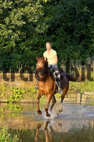 Lady rider galloping through water