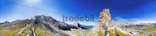 360 panorama view at the col Crespeina with Crespeina plateau in the Puez Geisler National Park, Slva, Selva, Val Gardena, Gardena Valley, Groednertal, South Tyrol, Italy, Europe