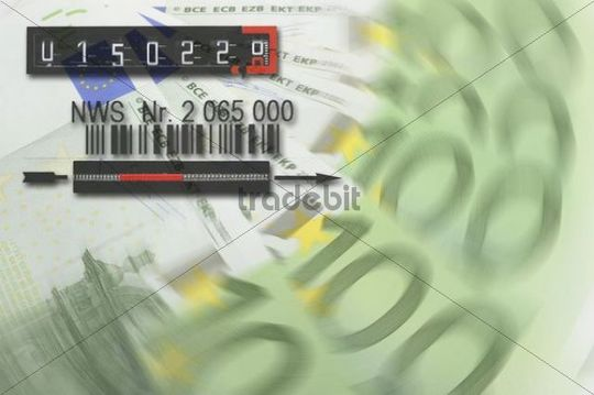 Euro banknotes, electricity meter, symbol for energy costs