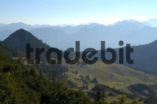 Mountain Platteneck in front of mountain setting of Karwendelgebirge Bavarian Alps Upper Bavaria Germany