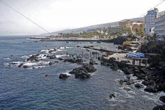 Coast of Puerto Cruz, Tenerife, Canary Islands, Spain, Europe