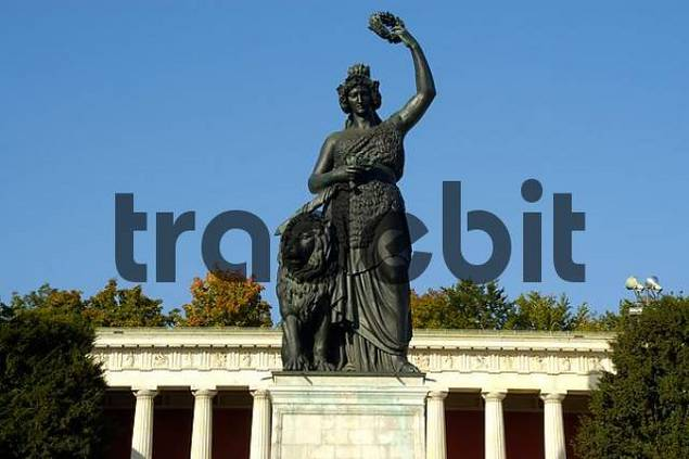 Statue of Bavaria against the sky with Ruhmeshalle Theresienwiese Munich Bavaria Germany