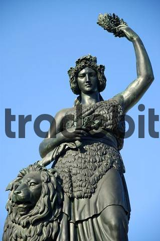 Statue of Bavaria nearby Theresienwiese Munich Bavaria Germany