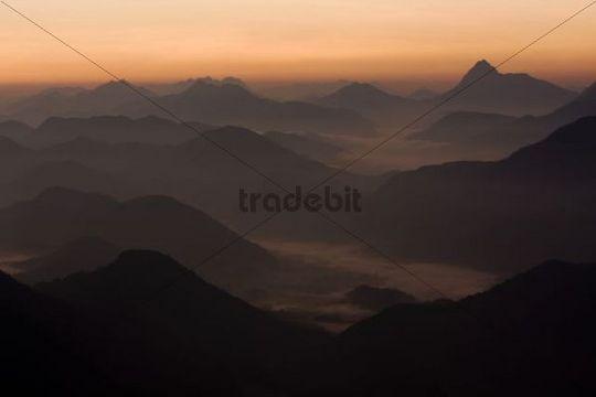 Mt Herzogstand at sunrise, Walchensee Lake, Bavaria, Germany, Europe