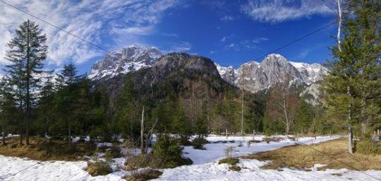 Landscape in Berchtesgaden National Park, mountain landscape, Alps, Berchtesgaden Alps, Germany, Europe