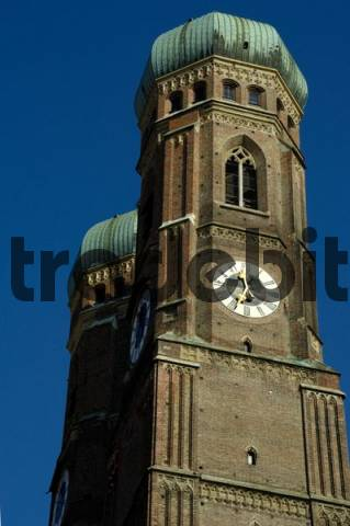 Towers of the church Frauenkirche Munich Bavaria Germany