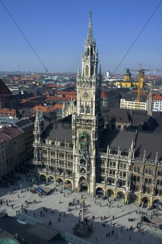 Marienplatz, Mary´s Square, New Town Hall, Town Hall tower, Munich, Germany, Europe