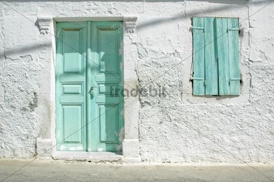 Door And Windows Facade Detail Of A Traditional Greek