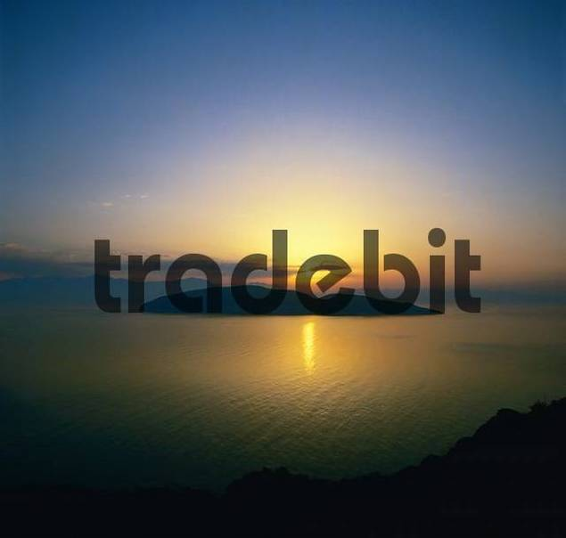 Sunset over the Isle of Psira, view from Mochlos, Crete, Greece