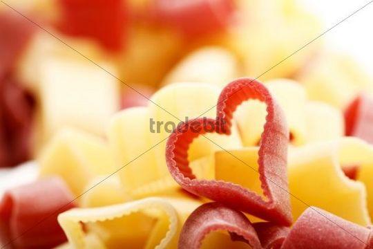 Coloured heart shaped pasta