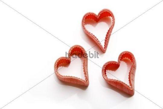 Coloured heartshaped pasta
