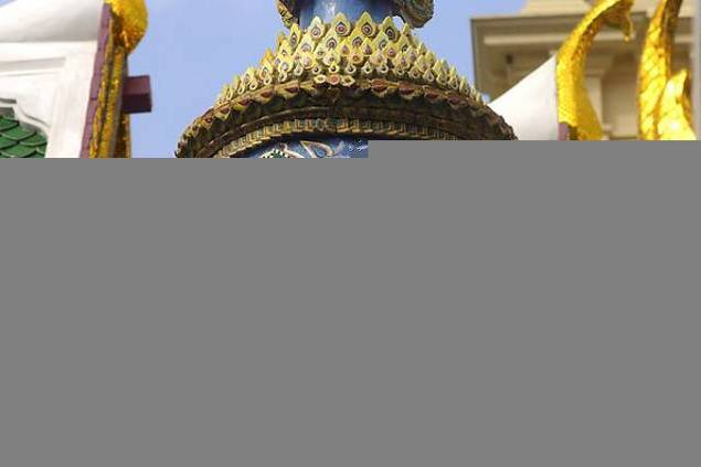 Mythical temple guardian Wat Phra Kaew Temple of the Emerald Buddha Bangkok Thailand