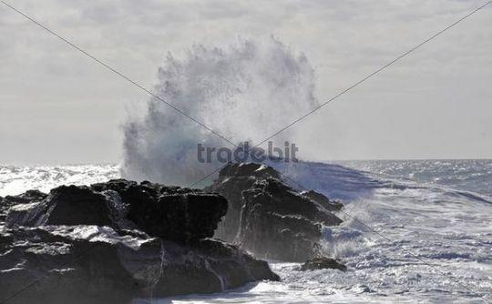 Breaking waves, Puerto de la Pena, Aiuy, Fuerteventura, Canary Islands, Spain, Europe