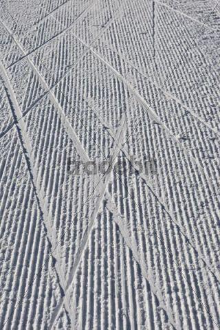 Ski tracks on a cross-country skiing trail, Tyrol, Austria, Europe