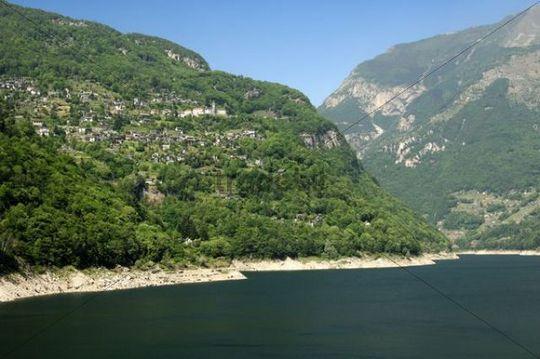 View of the Ticino village Mergoscia over Lago di Vogorno, Verzasca valley, Canton Ticino, Switzerland, Europe