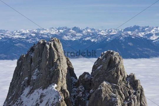 Kreuzberge Mountains and the Rheintal Valley, in the back the Austrian alps, Canton of St Gallen, Switzerland, Europe
