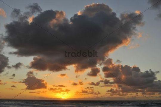 Clouded sky above the Atlantic Ocean, Fuerteventura, Canary Islands, Spain, Europe