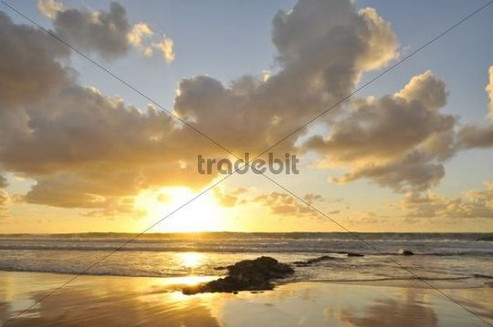 Sunset and clouded sky reflected in the Atlantic Ocean, Fuerteventura, Canary Islands, Spain, Europe