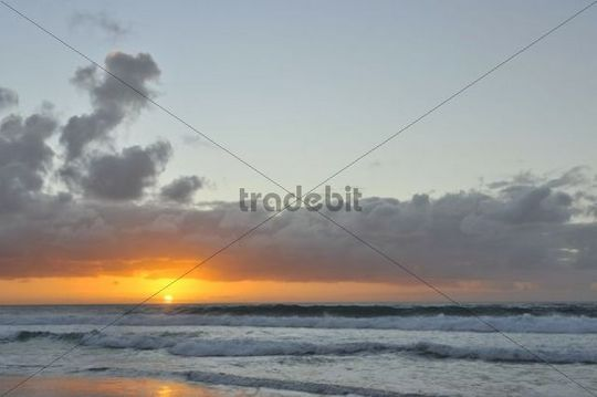 Sunset and clouded sky at the Atlantic Ocean, Fuerteventura, Canary Islands, Spain, Europe