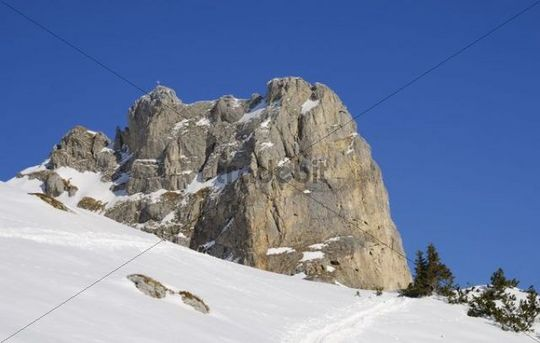 Limestone massif in winter, Rofan, Tyrol, Austria, Europe